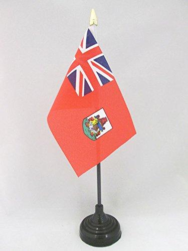 AZ FLAG Bandera de Mesa de Bermudas 15x10cm - BANDERINA de DESPACHO BERMUDEÑA 10 x 15 cm Punta Dorada