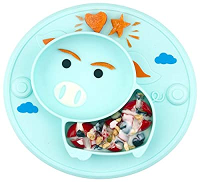 Baby Divided Plate Silicone- Portable Non Slip Child Feeding Plate with Suction Cup for Children Babies and Kids BPA Free FDA Approved Baby Dinner Plate Microwave Dishwasher Safe