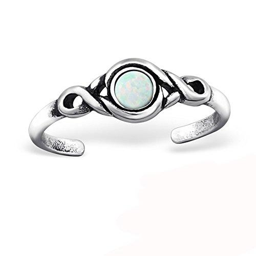 Anillo de pie de plata 925/000 envejecida – Ajustable – Cristal blanco