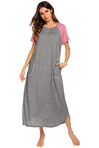 Ekouaer Loungewear, Maxi Night Gown Long Nightshirt Sleeping Dress, A-grey, XX-Large