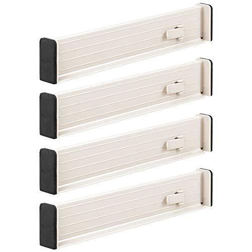 mDesign Juego de 4 separadores de cajones Regulables – Práctico Organizador de cajones de plástico para Armario y cómoda – Versátil Divisor de cajones de plástico – Crema/Beige