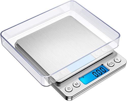 SEGIBUY Digitale keukenweegschaal, draagbare kleine elektronische weegschaal, keuken, mini-maatmeter, LCD-display met roestvrijstalen verlichting