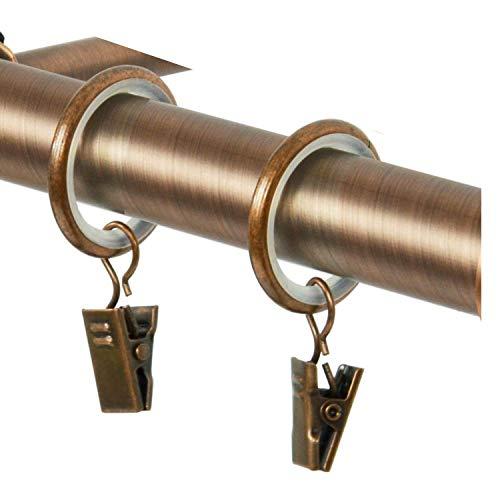TRENDYHOME Vorhangringe-Set, mit Clip, 10er-Pack, Gold-Matt Messing Kupfer Antik Vintage-Look Retro-Stil Gardinenringe mit Klammern (1 Päckchen 10 Stück Ringe + Klammern Kupfer)