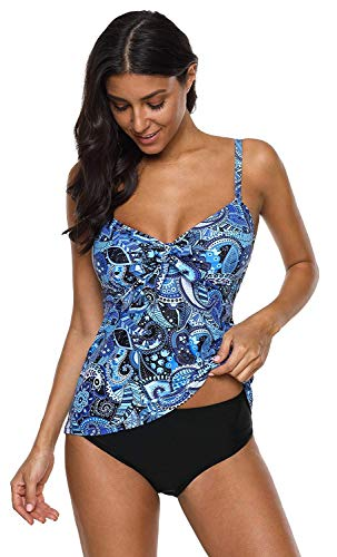 Anwell Damen Neckholder Push Up Badekleid Figurformend Badeanzug Bauchweg Zweiteilig Bademode Blau M