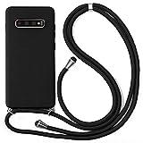 ZhuoFan Funda con Cuerda para Samsung Galaxy S7 Edge [5.5'] Negro Carcasa de Silicona Suave Case con Colgante Cordon Colgar Correa de Cuello - Largo 160cm, Anti-rasguños Bumper Cover