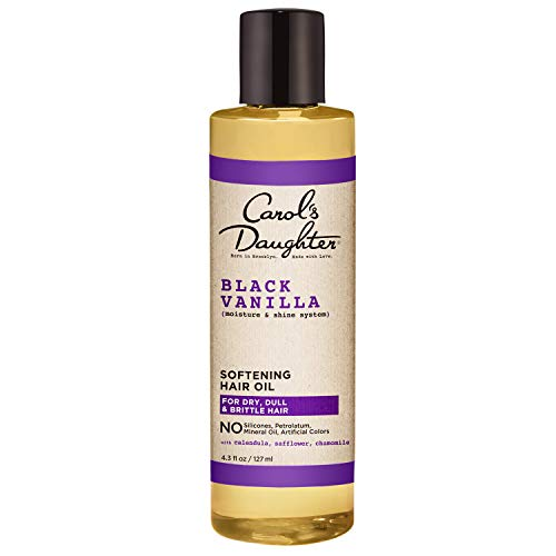 Carol's Daughter Black Vanilla Moisture & Shine Pure Hair Oil for Dry Hair and Dull Hair, with Calendula, Chamomile and Safflower, Silicone Free Hair Oil, Paraben Free, 4.3 fl oz