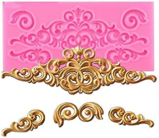 Bakefy® LACE Mold Baroque Style Curlicues Scroll Lace Fondant Silicone Mold for Cake Border Decorations, Cupcake Topper, J...