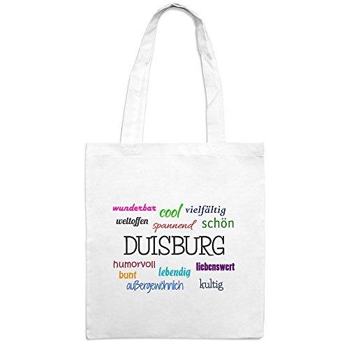 Jutebeutel mit Stadtnamen Duisburg - Motiv Positive Eigenschaften - Farbe weiß – Stoffbeutel, Jutesack, Hipster, Beutel