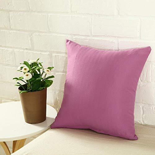 Tings Candy Color kussensloop Effen kleur polyester Sierkussenhoes Decoratieve kussenslopen hoes, lavendel paars, 400 * 400 mm