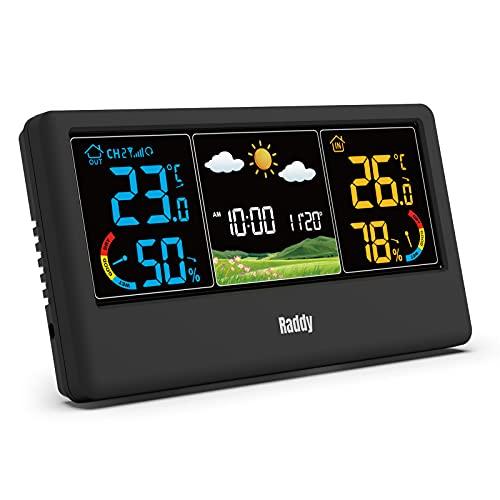Raddy WF-55C Wetterstation Funk mit Außensensor Farbdisplay für Innen und Außen Wettervorhersage mit Hygrometer Thermometer Funkuhr Wecker für Zuhause