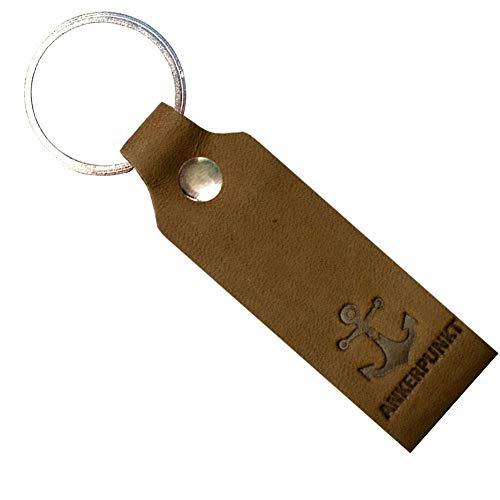 Ankerpunkt Schlüsselanhänger Leder mit Gravur Anker - Geschenk für Mama Papa Oma Opa - Made in Germany (Dunkelbraun)