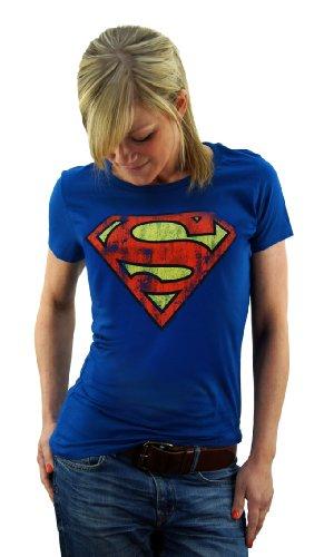 Original SUPERMAN Girl Shirt Damen Supergirl T-Shirt LOGO Azurblau NEW Gr. S