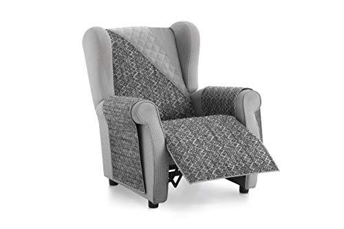 Textilhome - Funda Cubre Sofá Malu -1 Plaza - Relax - Protector para Sofás Acolchado Reversible. Color Gris C/10