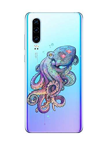 Suhctup Case Compatible con Huawei Honor 8A Funda Transparente Suave Silicona TPU Bumper Cárcasa Dibujos Animales Diseño Ultra Delgada Antigolpes de Protector Piel Cover,Pulpo Colorido