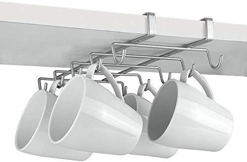 Metaltex MY-MUG - Colgador de cocina para 10 tazas, color plateado