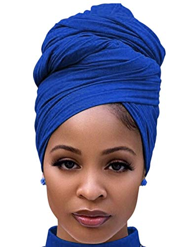African Head Wraps for Black Women Pretied Turban Stretch Headband Tie for Sleeping Royal Blue