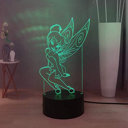 Laysinly Cute Tinker Bell LED Night Lights, Lovely Girls Bedroom Sleeping Night Lamp, Creative USB Remote Control 7 Colors Desk Lamp, Home Decor Light Table Lamp, Child Birthday Gift