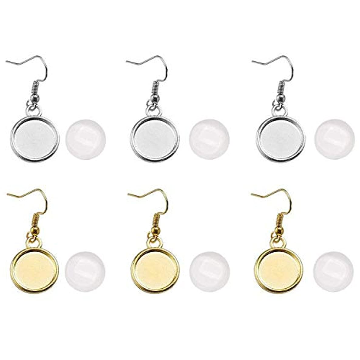 40 Pack Silver and Golden Cabochon Earring Settings with Glass Dome, Blank Cabochon Settings, Silver Tone Lever Back Earring Hooks