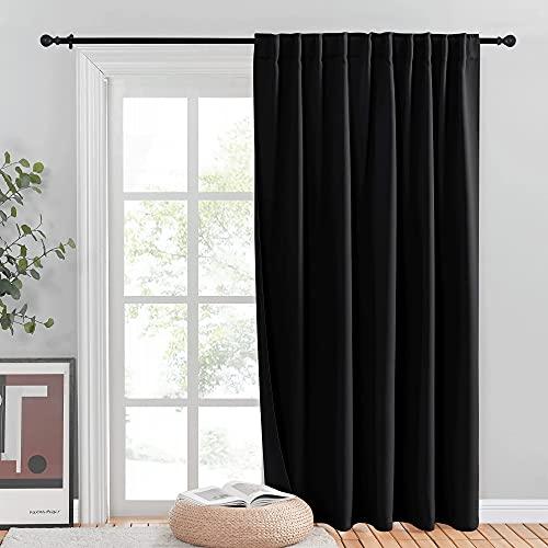 NICETOWN滑动门遮光窗帘,重型庭院门帘,隔热宽窗帘/餐室分隔阳台房间窗帘(黑色,80 * 84英寸,单面板)