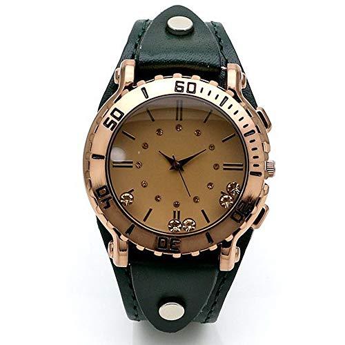 Correa de Cuero Elegante Vendimia de Las señoras Deporte Flexible Relojes Negro-Tono Casual de Cuarzo Reloj de Pulsera (Color : Green)
