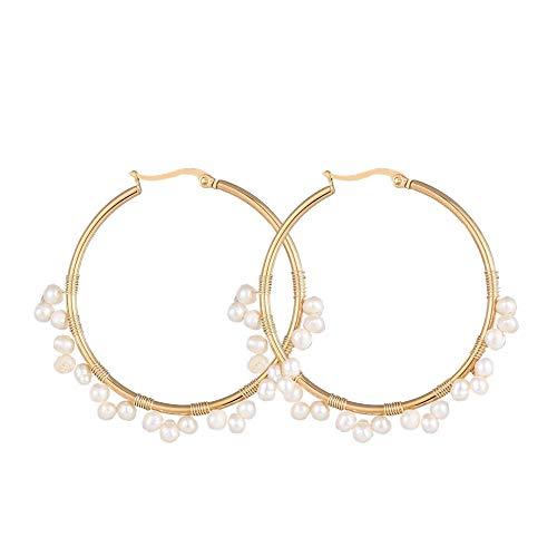 Ornaland Pendientes de aro de acero inoxidable chapado en oro, con perlas naturales de piedra de luna, pendientes hipoalergénicos, 50 mm Pearl A