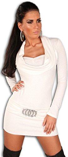 Koucla Damen Strickkleid & Pullover mit Ausschnitt in Wasserfalloptik, weiß Größe 34 36 38
