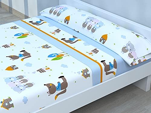 Juego de sábanas Infantiles de Microfibra Transpirable Mod. Happy Pig (Cama de 90 cm (90_x_190/200 cm))