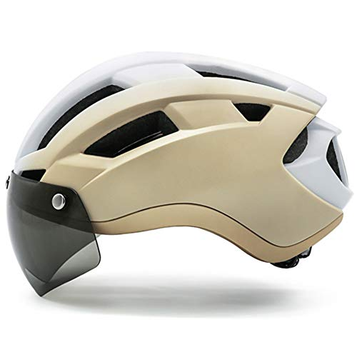 Helm ZWRY Fietshelmen met bril Veiligheid USB oplaadbare licht fietshelm