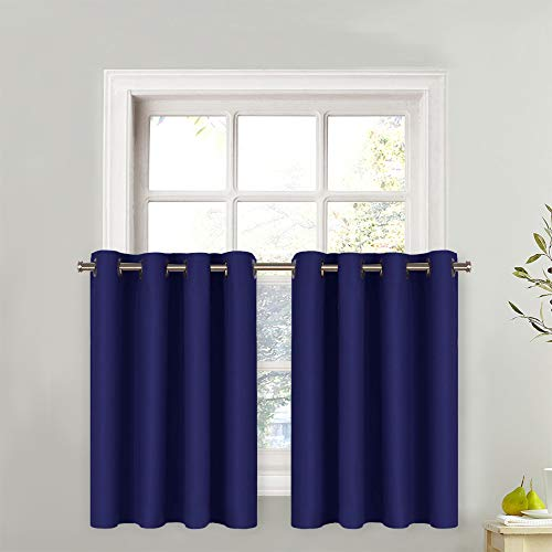 "NICETOWN Living Room Small Window Valance - 1 Panel Thermal Insulated Blackout Window Curtain Grommet Tier (Royal Navy Blue, 52 Width x 36"" Length)"