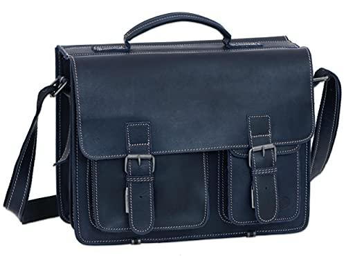 Greenburry Aktentasche Leder Schultasche XL Lehrertasche Tasche New Buffalo blau Damen Herren Schule Uni Arbeit