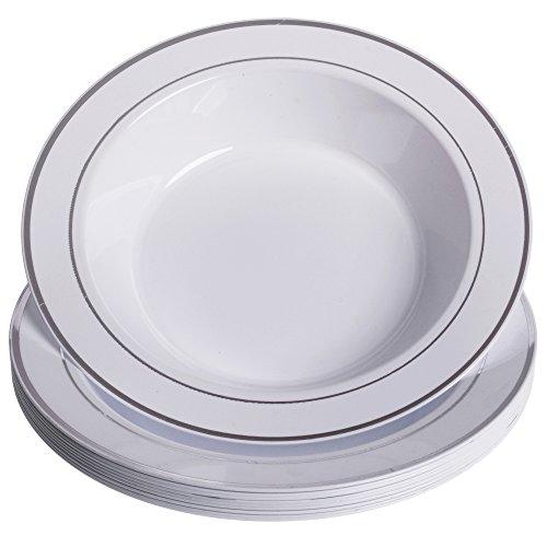 GRÄWE Kunststoff-Suppenteller Ø 26 cm, 10er Set - tiefe Kunststoff-Teller in Porzellan-Optik, weiß/silber