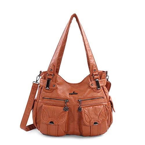 SPFTOY Damen Handtasche Große Doppelreißverschluss Multi Pocket Washed Schultertasche Designer-Handtaschen für Frauen-Brown