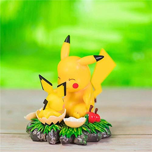 Factorydiy Modelo de Personaje Anime Figura de Estatua de Anime Pokemon Pikachu de versión Q Adornos Coleccionables Juguete Animaciones Modelo de Personaje