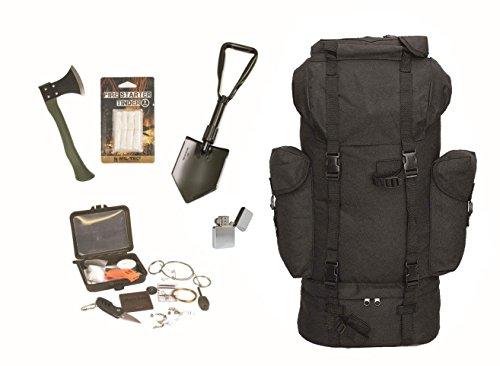 AOS-Outdoor Survival Set BW Bundeswehr schwarz Kampfrucksack + Spaten + Beil + Survival Box usw.