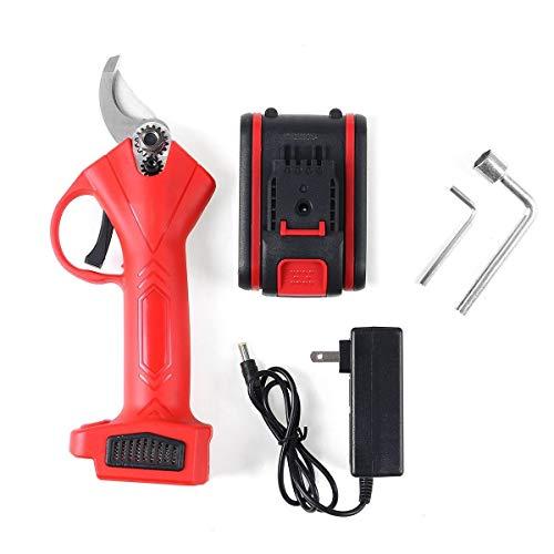 Z.L.FFLZ Ramas 21V sin Hilos eléctricos de podar Tijeras Pruner 25mm Tijeras de jardín Pruner Branch Cortador de la Herramienta de Corte (Color : Rojo, Size : 2 Batteries)
