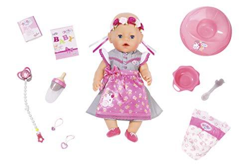 Zapf Creation 827451 BABY born Soft Touch Dirndl Girl Puppe mit lebensechten Funktionen 43 cm