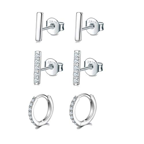 925 Sterling Silver Bar Earrings | Silver Hoop Earrings, Bar Stud Earrings & Small Silver Hoop Earrings with AAA+ Cubic Zirconia, 3 Pairs Hypoallergenic Earrings for Men Girls(7.5/7.5/ 8mm)