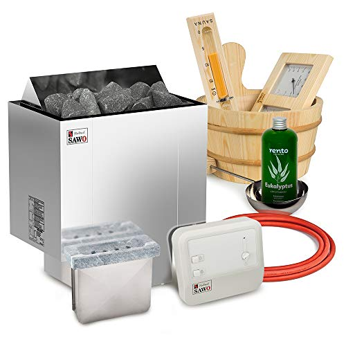Elektrische Saunaofen Sawo Nordex Plus 6kW mit Saunasteuerung Sawo A1 zusammen mit 20kg Steinen und Sauna Zubehör Set