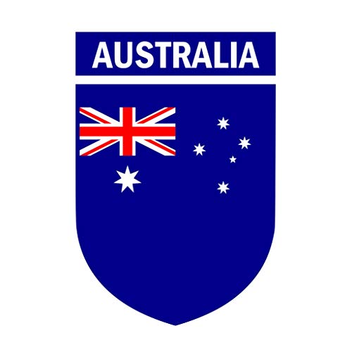 TENNER.LONDON Set of 5 Australian Flag Crest Iron on Screen Print Fabric Applique Machine Washable Transfer Australia Flag
