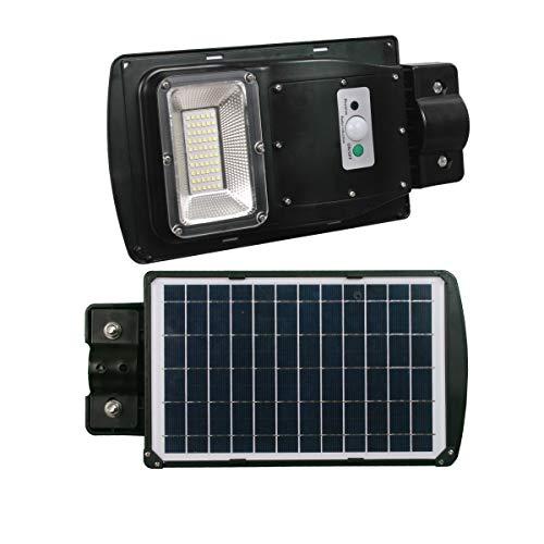 JANDEI - Farolas Solares Integradas con Sensor de Movimiento, Batería y Panel Solar. Soporte Negro y Blanco de pared o poste. (30W, 610 Lúmenes)