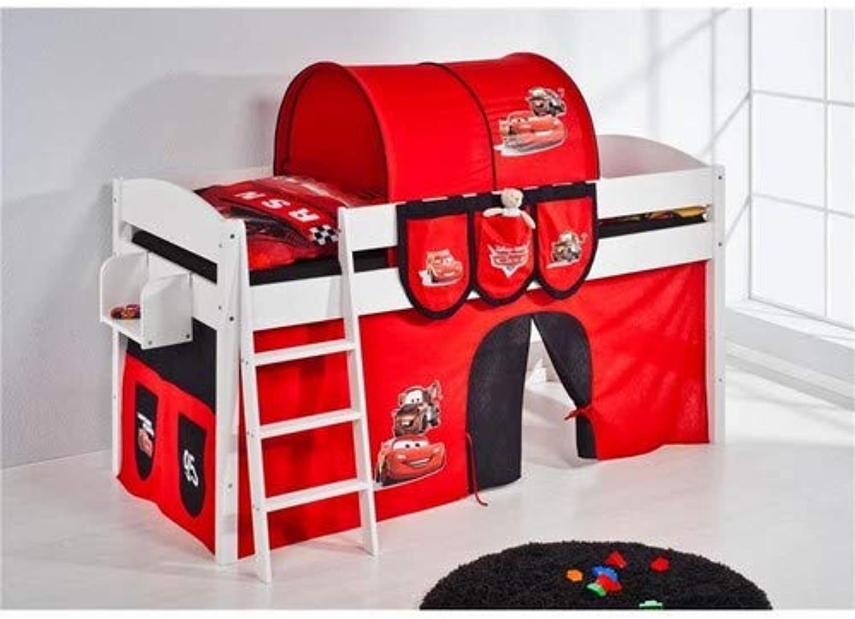 Lilokids Spielbett IDA 4105 Disney Cars-Teilbares Systemhochbett wei-mit Vorhang Kinderbett, Holz, 208 x 98 x 113 cm