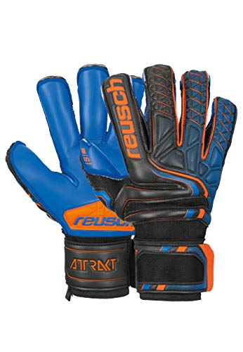 Reusch Attrakt S1 Evolution Finger Support - Guanti da portiere da uomo, colore: nero/arancione shocking / blu scuro