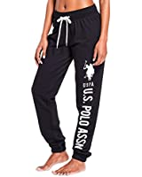 U.S. Polo Assn. Essentials Womens Printed French Terry Boyfriend Jogger Sweatpants Black Large