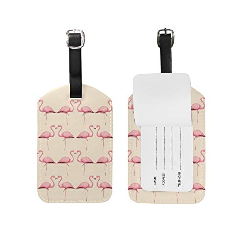 Flamingo Peach Luggage Tag Travel ID Bag Label Leather Tags for Baggage Suitcase 1 Piece