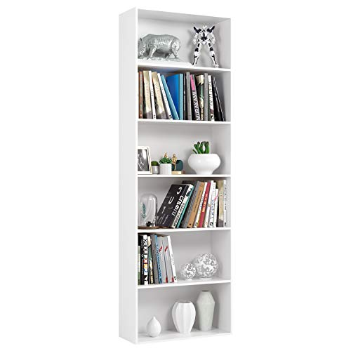 Homfa Libreria in Legno Truciolato, Scaffale Espositore con 6 Ripiani Spaziosi, Mobile Moderno Decorativo per Soggiorno ed Ufficio (Bianco), Carico 30kg