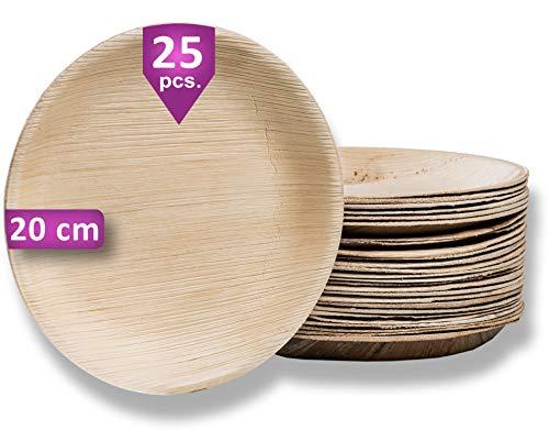 Waipur Bio Palmblattteller - 25 Teller Rund Ø 20 cm - Premium Einweggeschirr kompostierbar erh. in fünf Größen - Umweltfreundliches Partygeschirr - Palmblatt Geschirr