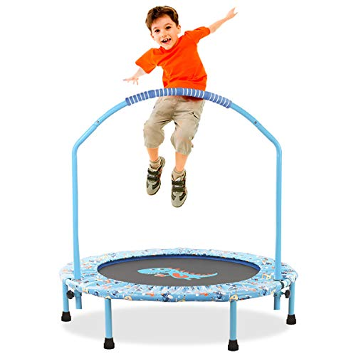 LBLA ø 38Inch Trampoline for Kids,Adjustable Handrail and Safety Padded Cover Mini Foldable Bungee Rebounder Indoor/Outdoor Kids Trampolines with Handle Children's Sports Toys(Black) (Dinosaur).