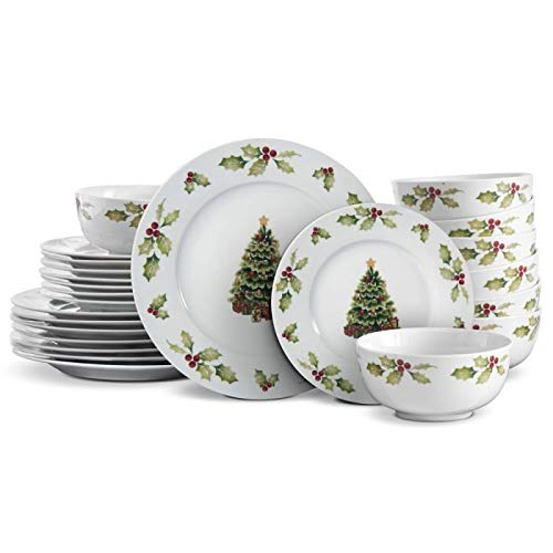 Pfaltzgraff Christmas Day 24 Piece Dinnerware Set, Service for 8