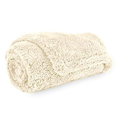 PetAmi Fluffy Waterproof Dog Blanket Fleece | Soft Warm Pet Fleece Throw for Small Dogs and Cats | Fuzzy Plush Sherpa Throw Furniture Protector Sofa Couch Bed (Beige Cream, 24x32)