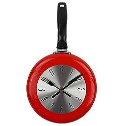 N /A Modern Design Wall Clock Wall Clock Metal Frying Pan Design 8 Inch Clocks Kitchen Decoration Novelty Art Watch